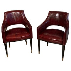 Contemporary Customizable Black Lacquered and Brass Legs Armchairs, 1950s Style