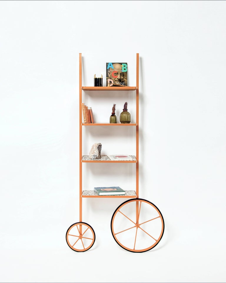 Turkish Contemporary Cyclopedia Bookshelf in Powder Coated Metal and Yellow Terrazzo For Sale