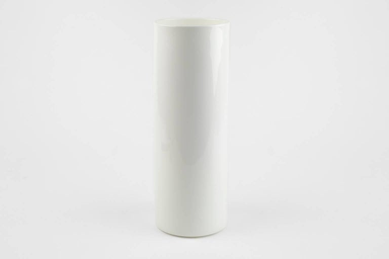 Modern Contemporary Cylindrical Ceramic Positive Vase with Engraved Detail in White For Sale