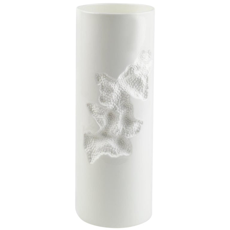 Contemporary Cylindrical Ceramic Positive Vase with Engraved Detail in White For Sale