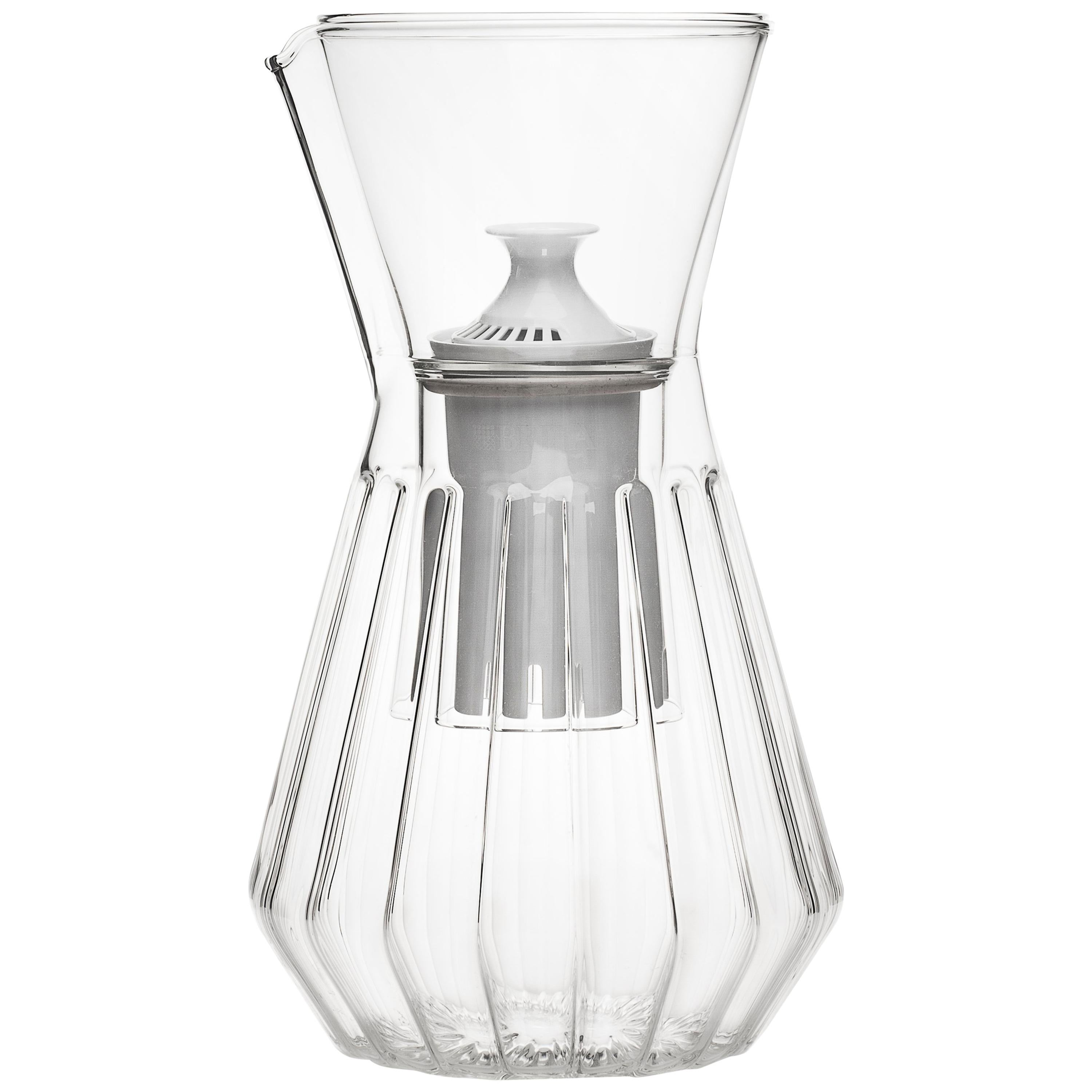 Fluted Talise Carafe Pitcher And Six Mixed Small Glass Set By Fferrone