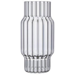 EU Clients Contemporary Glass Albany Large Fluted Vase Handcrafted, in Stock