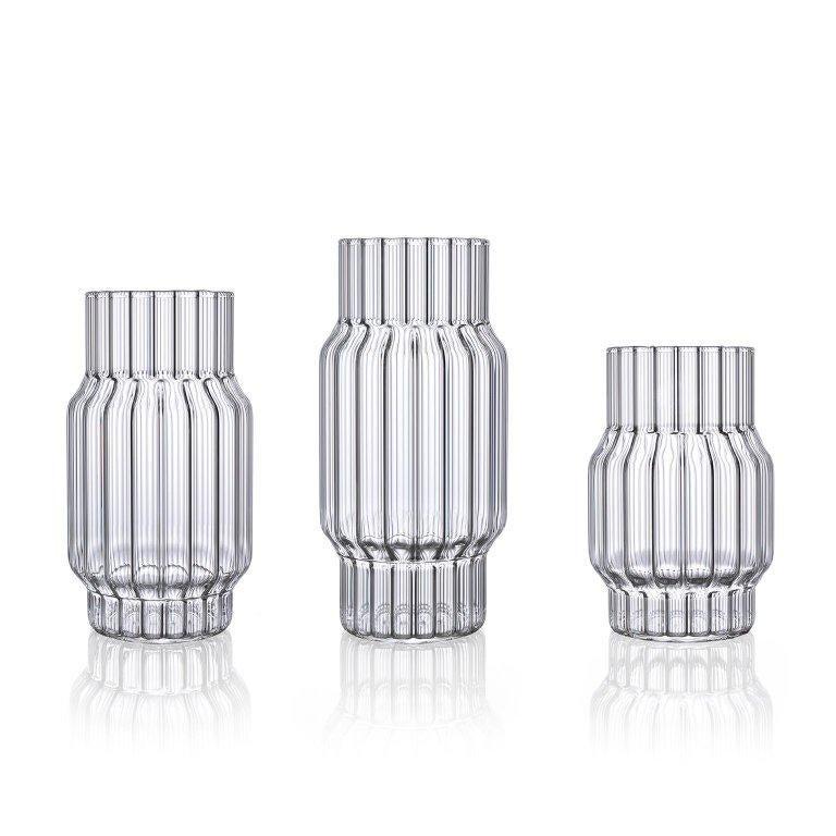 Modern Designer Handcrafted Glass Fluted Vase