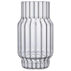 EU Clients Contemporary Glass Albany Medium Fluted Vase Handcrafted, in Stock
