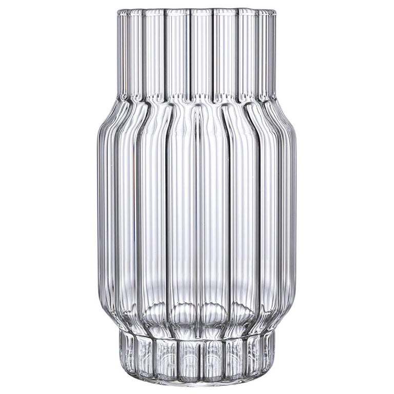 Contemporary Czech Glass Albany Medium Fluted Vase Handcrafted, in Stock For Sale