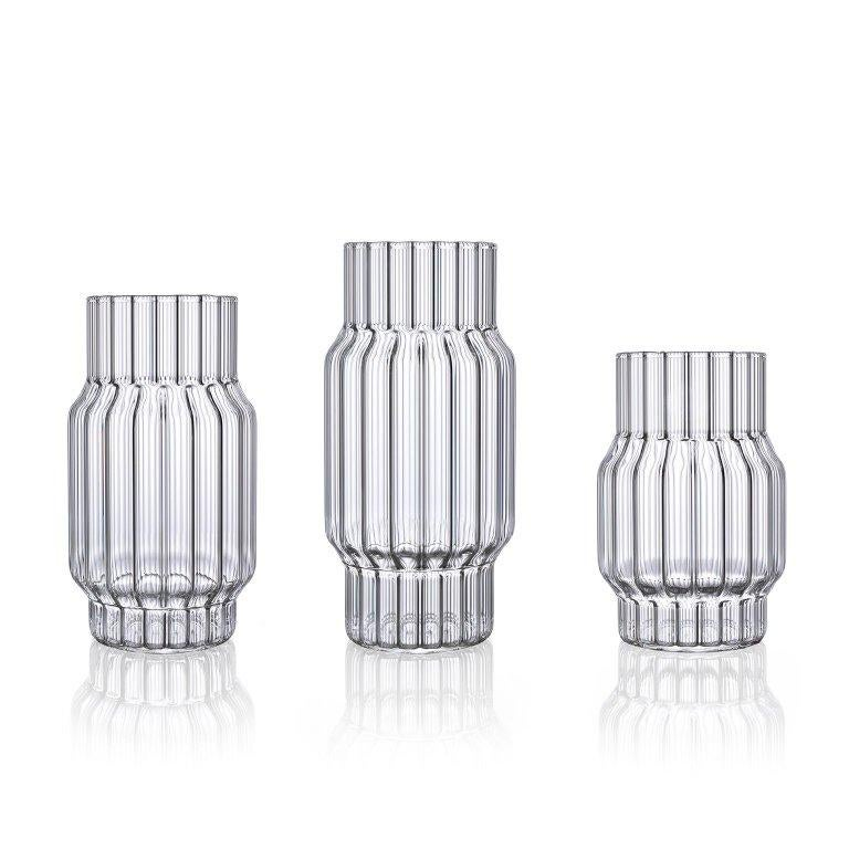 Modern Contemporary Czech Glass Albany Small Fluted Vase Handcrafted, in Stock EU For Sale