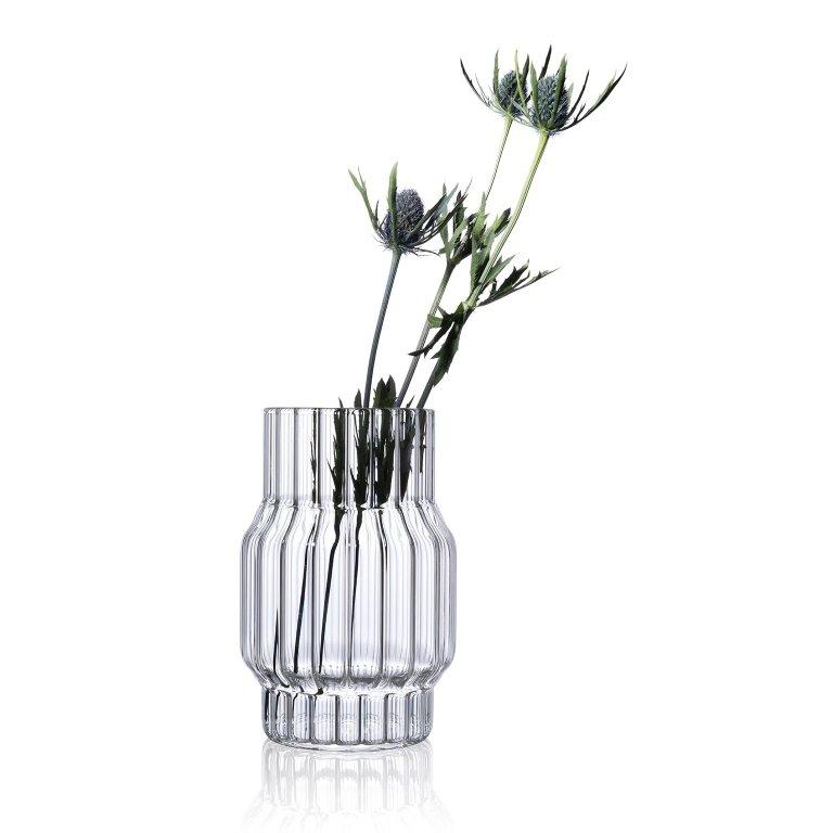 Hand-Crafted Contemporary Czech Glass Albany Small Fluted Vase Handcrafted, in Stock EU For Sale