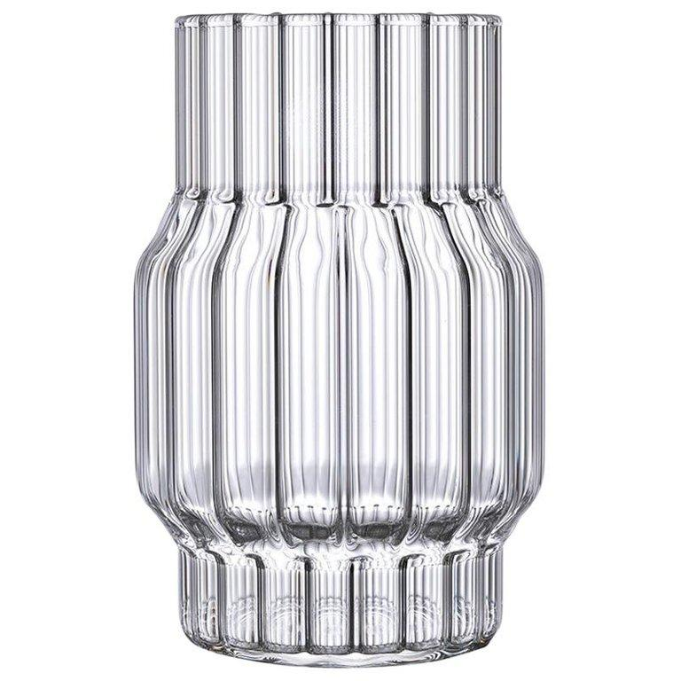 Contemporary Czech Glass Albany Small Fluted Vase Handcrafted, in Stock EU For Sale