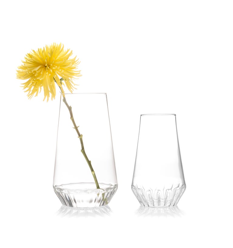 Contemporary Czech Glass Clear Modern Medium Vase Handcrafted, in Stock In New Condition For Sale In Chicago, IL
