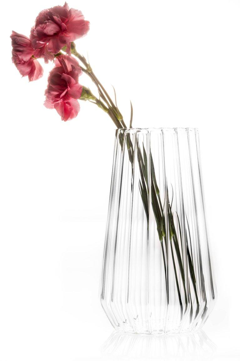 Modern EU Clients Contemporary Czech Glass Fluted Large Vase Handcrafted, in Stock For Sale