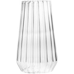 EU Clients Contemporary Czech Glass Fluted Large Vase Handcrafted, in Stock