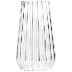 Contemporary Czech Glass Fluted Large Vase Handcrafted, in Stock