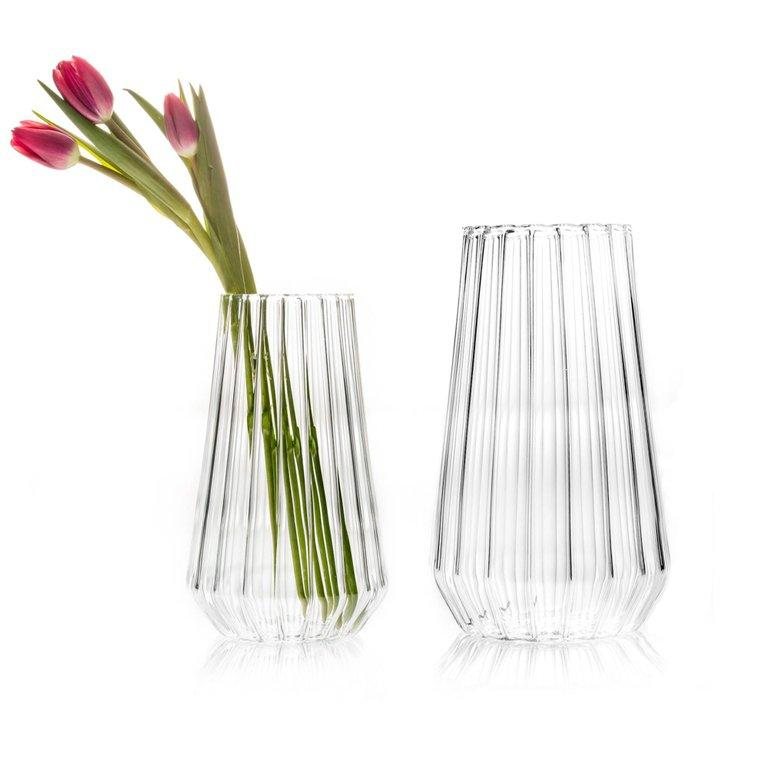 Modern EU Clients Contemporary Czech Glass Fluted Large with Medium Vases, in Stock For Sale