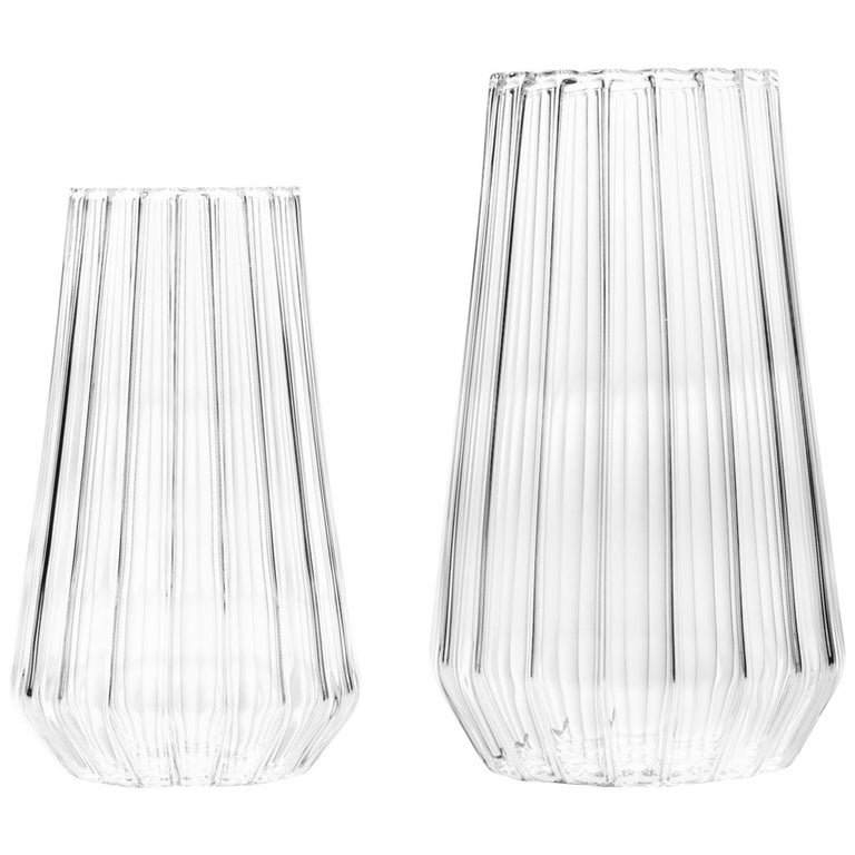Contemporary Czech Glass Fluted Large with Medium Vases Handcrafted, In Stock For Sale