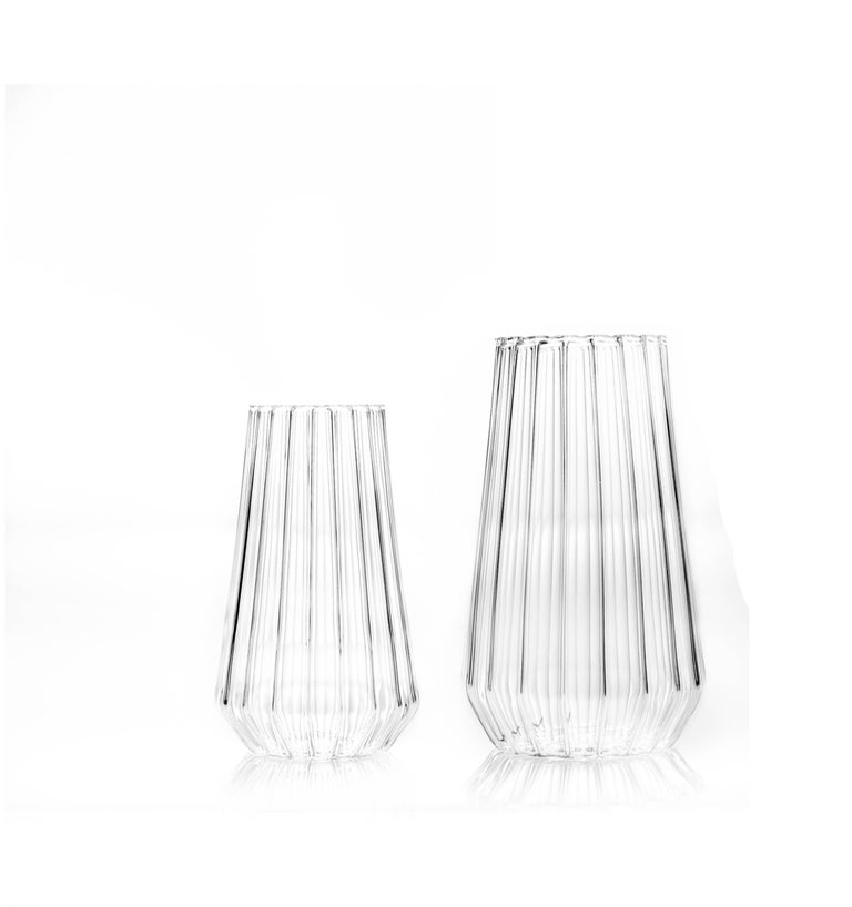 Modern Contemporary Czech Glass Fluted Medium Vase Handcrafted, in Stock For Sale