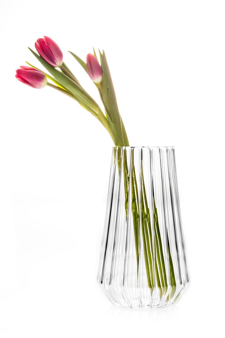 Forged Contemporary Czech Glass Fluted Medium Vase Handcrafted, in Stock For Sale