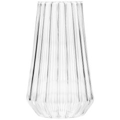 Contemporary Czech Glass Fluted Medium Vase Handcrafted, in Stock