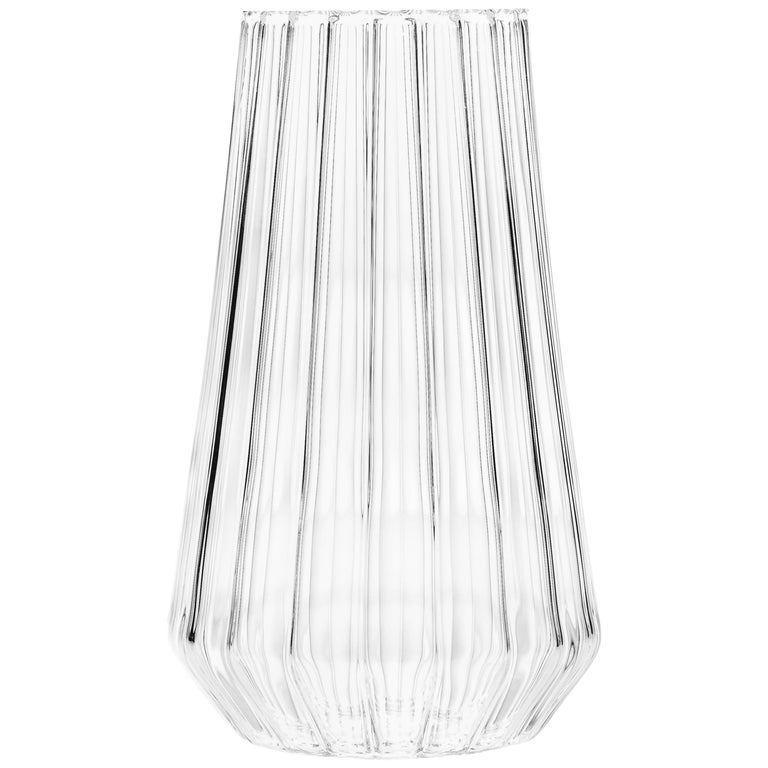 Contemporary Czech Glass Fluted Medium Vase Handcrafted, in Stock For Sale