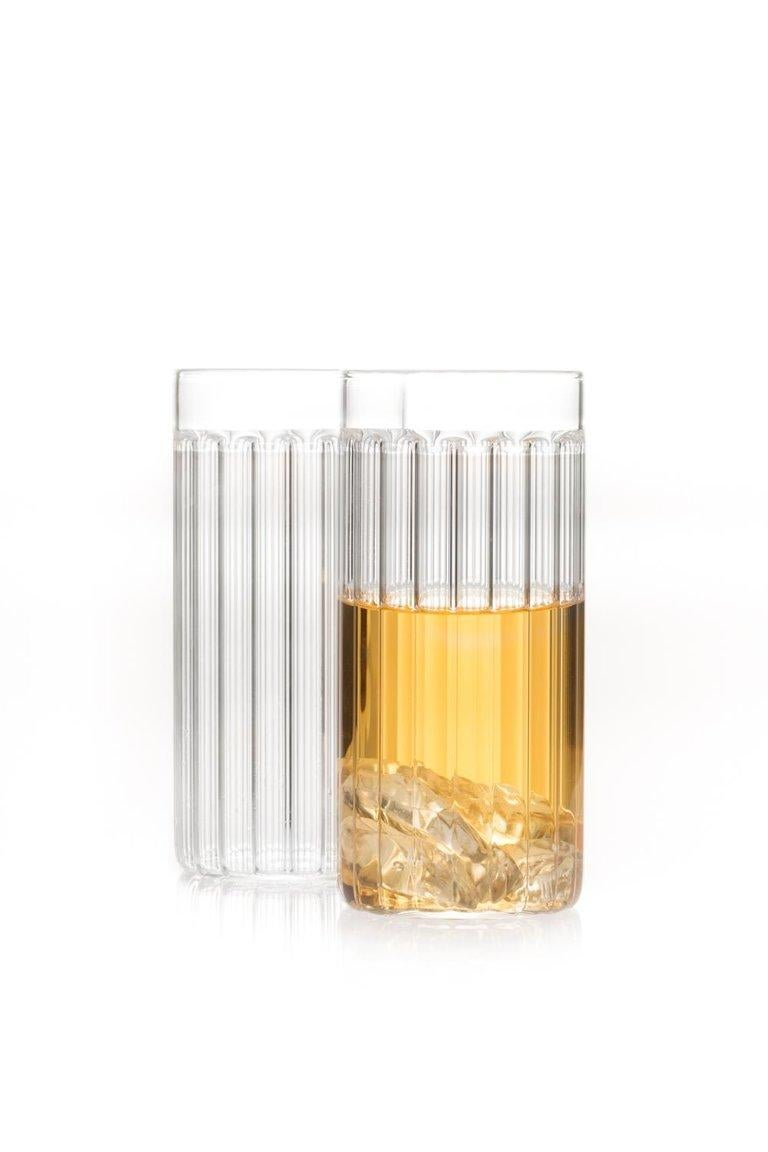 This Czech contemporary clear glass set includes six Bessho Collins glasses and six Bessho tumblers   This item is also available in the US.  Just as the small town is known for the healing properties of its hot springs, so are the evenings we spend