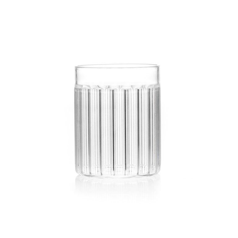 Modern EU Clients Contemporary Czech Minimal 6 Collins & 6 Tumbler Glass Set, in Stock For Sale