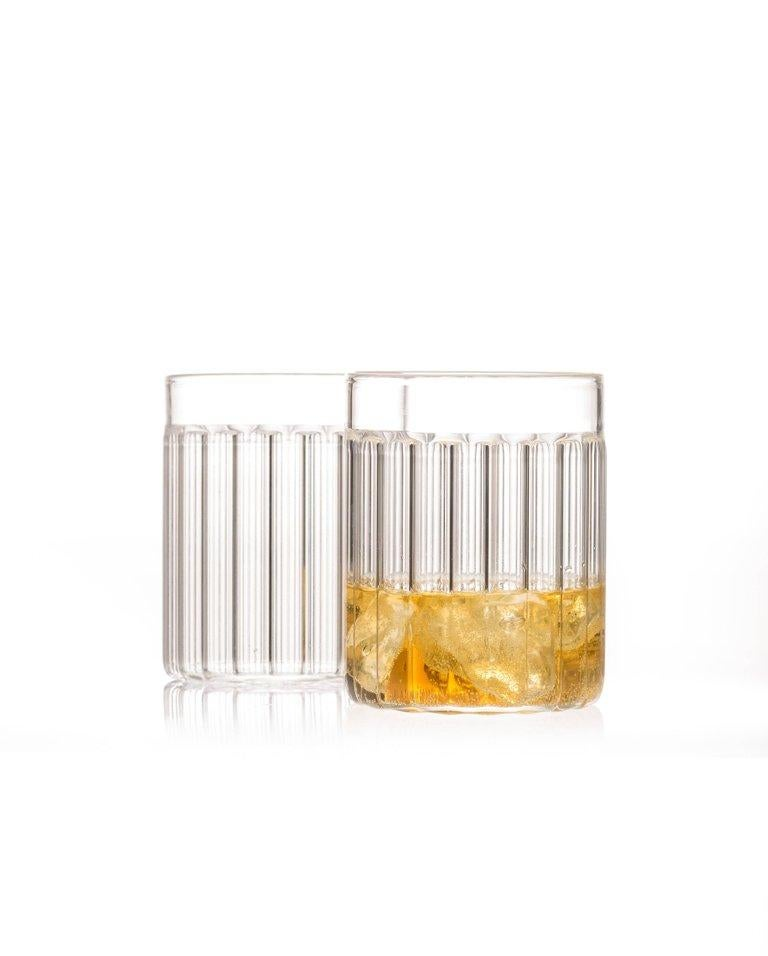 Hand-Crafted EU Clients Contemporary Czech Minimal 6 Collins & 6 Tumbler Glass Set, in Stock For Sale