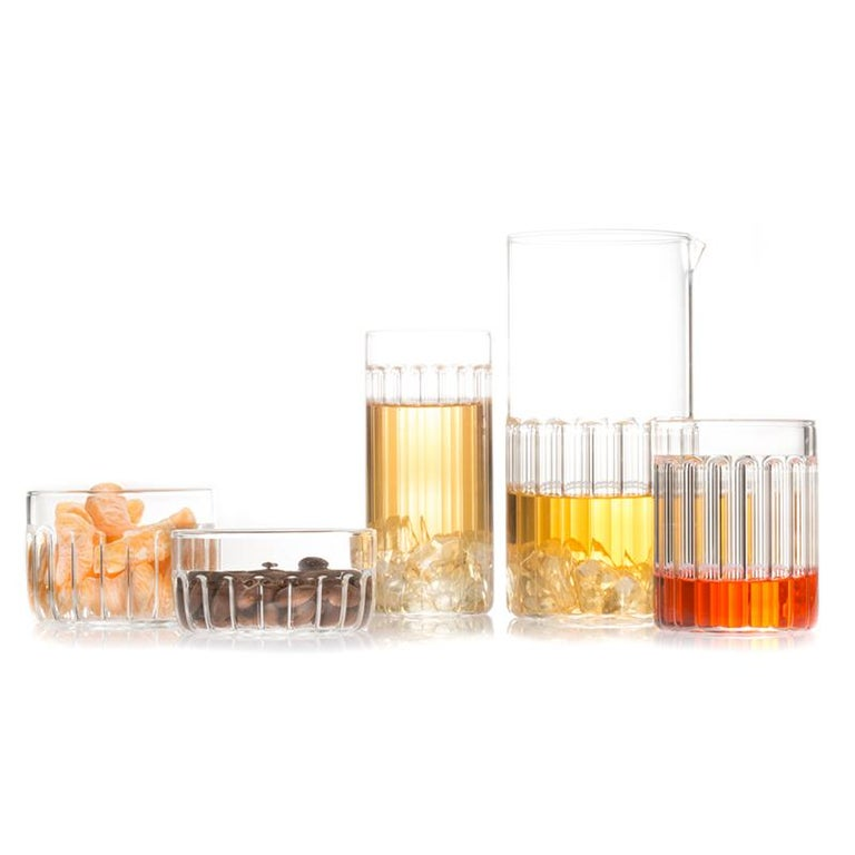 EU Clients Contemporary Czech Minimal 6 Collins & 6 Tumbler Glass Set, in Stock For Sale 1