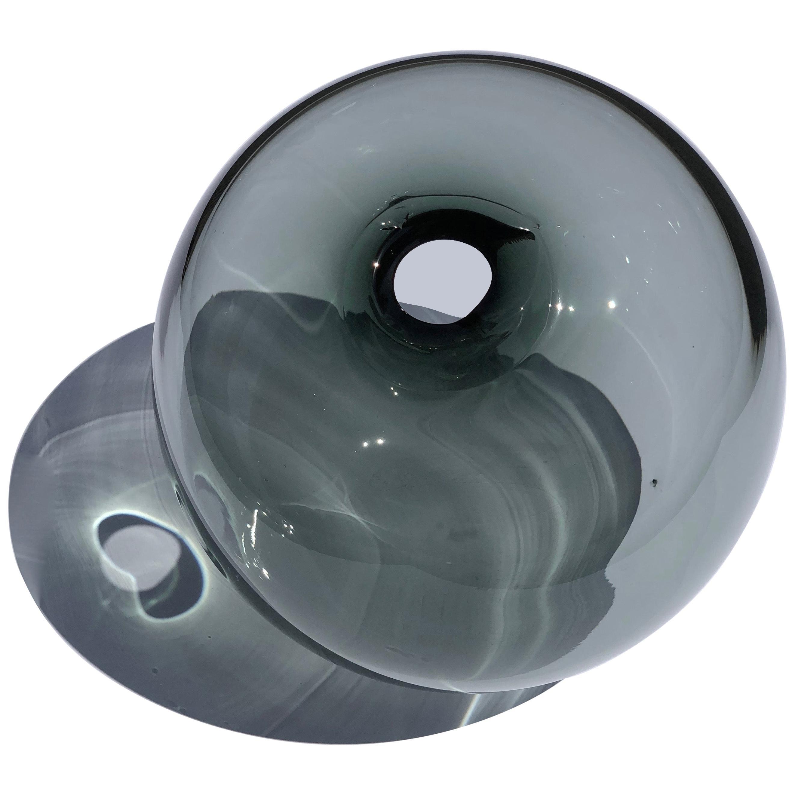 Contemporary Czech Studio Glass Vase in Smoky Grey Color