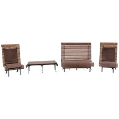 Contemporary Dacheville Nicol France Teak Patio Set Pair Chairs Settee and Bench
