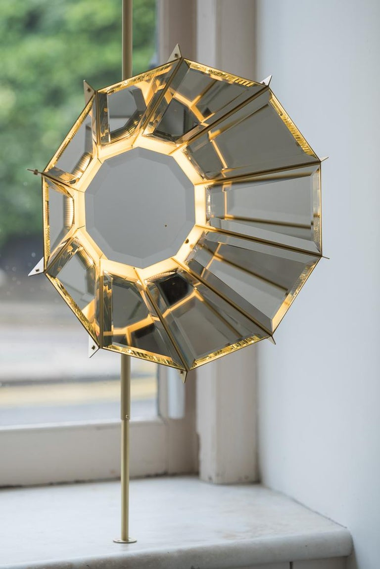 Contemporary Daffodils hanging sculptural brass light or lamp In New Condition For Sale In Milan, Lombardy