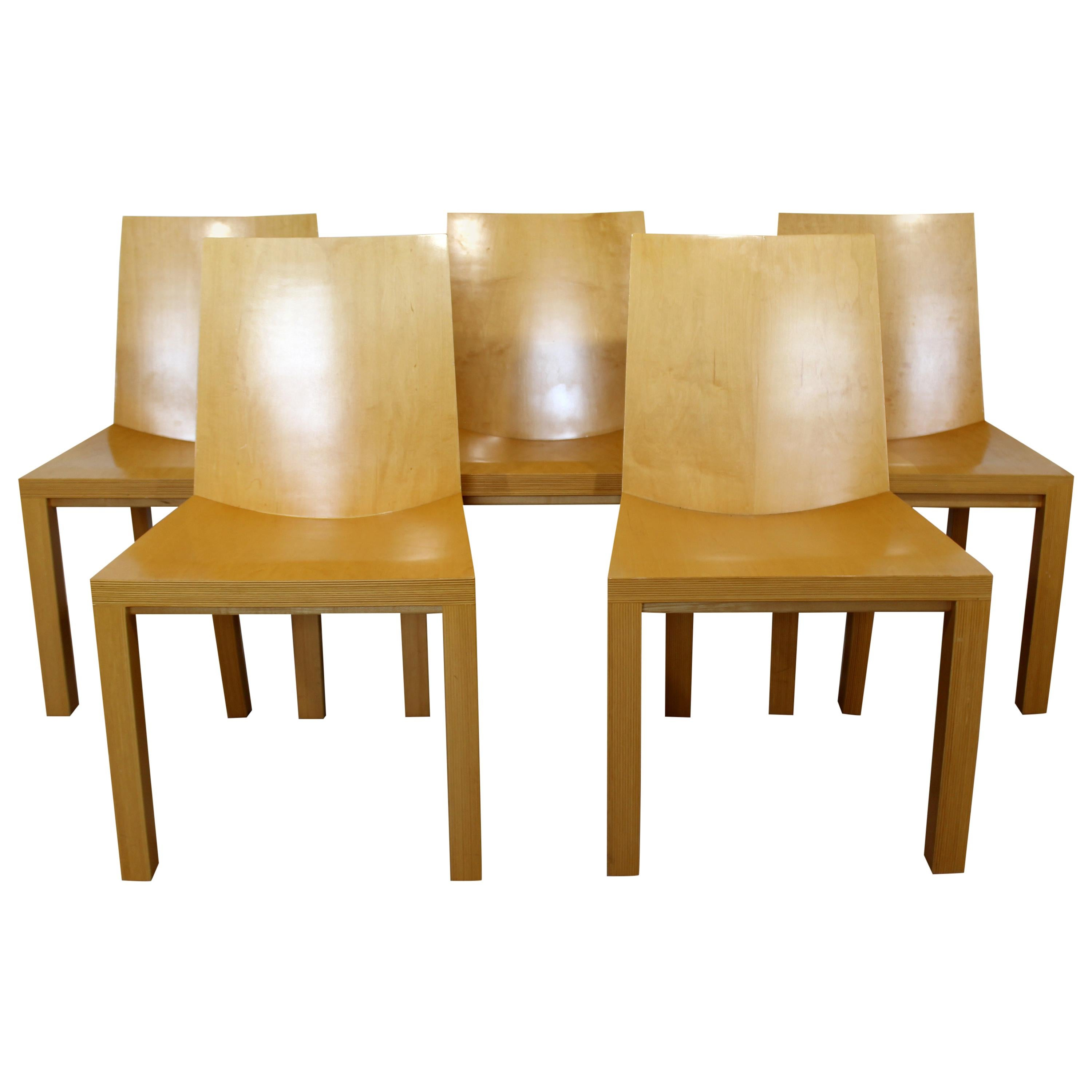 Contemporary Dakota Jackson Set of 5 Library Lacquered Maple Side Chairs