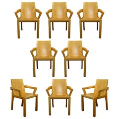 Contemporary Dakota Jackson Set of 8 Library Lacquered Maple Dining Armchairs
