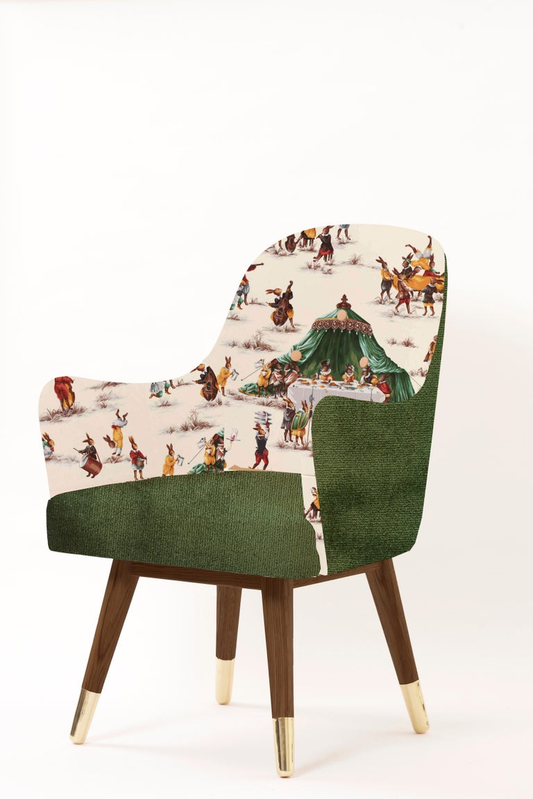 Arts and Crafts Contemporary Dandy Chair with Beige Suede Leather, Walnut and Brass For Sale