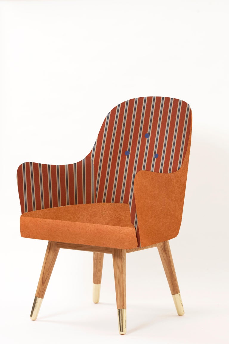 Turkish Contemporary Dandy Chair with Beige Suede Leather, Walnut and Brass For Sale