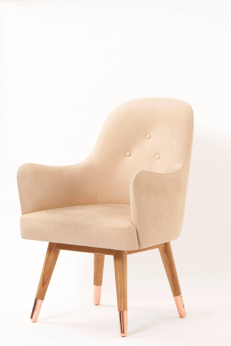 Hand-Crafted Contemporary Dandy Chair with Beige Suede Leather, Walnut and Brass For Sale