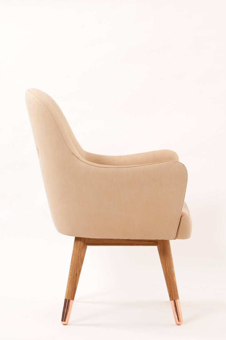 Wood Contemporary Dandy Chair with Beige Suede Leather, Walnut and Brass For Sale