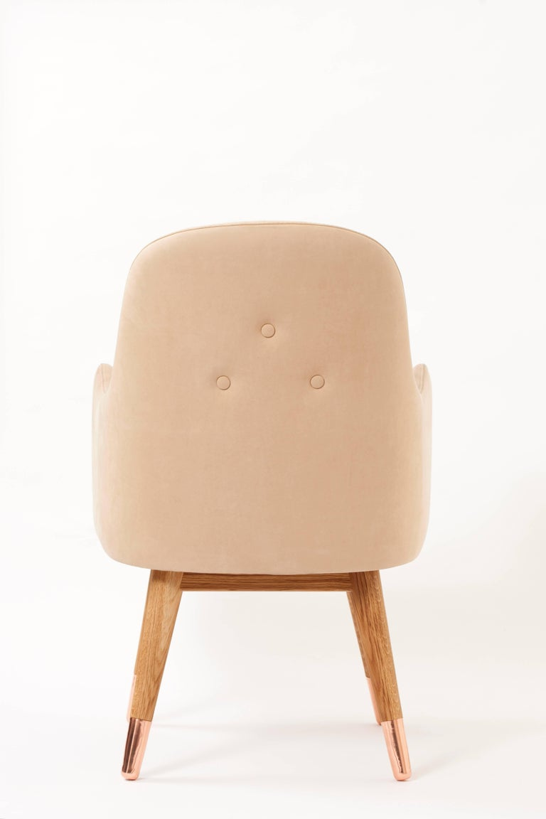 Contemporary Dandy Chair with Beige Suede Leather, Walnut and Brass For Sale 2