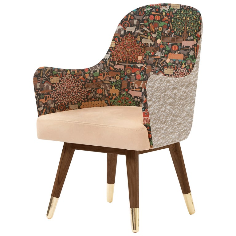 Contemporary Dandy Chair with Beige Suede Leather, Walnut and Brass For Sale