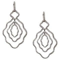 18k white Gold Diamond  Dangle Chandelier Earrings with Detachable Huggie Hoop