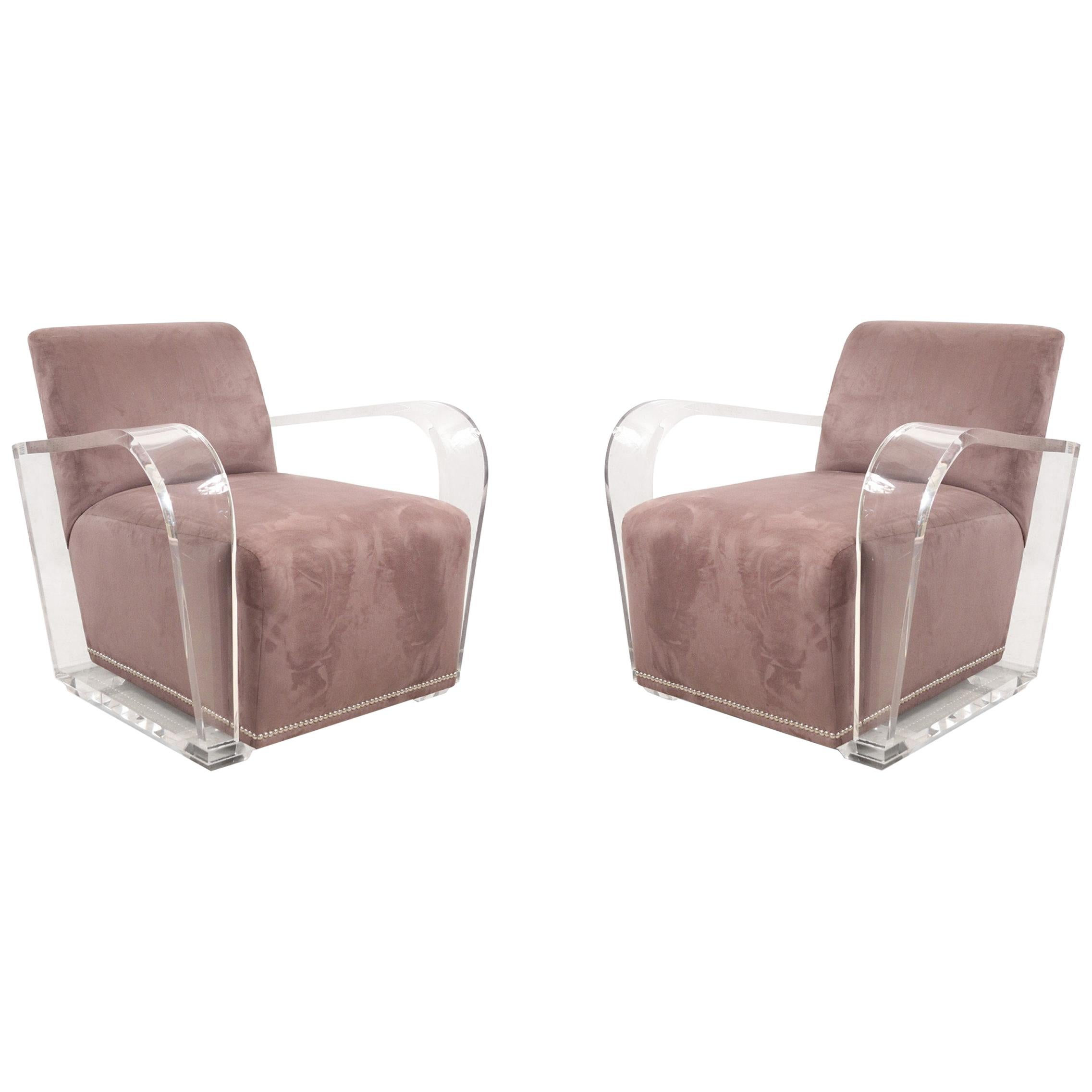 Contemporary Dark Gray Suede and Lucite Lounge Chair