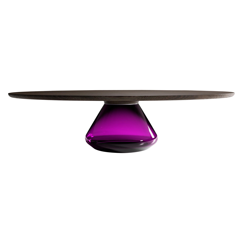 """""""Charoite Eclipse"""" Contemporary Coffee Table Dark Oak Glass by Grzegorz Majka"""