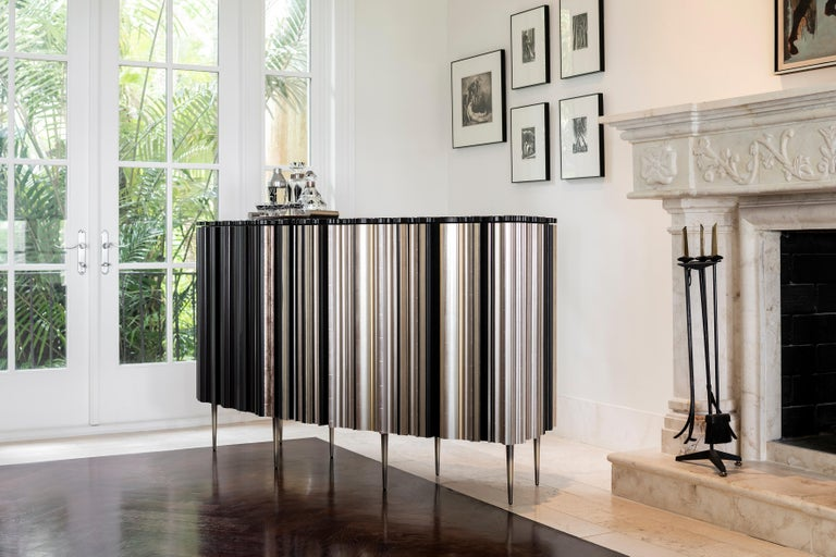 Contemporary Darkened Wood Molding Credenza by Luis Pons For Sale 2