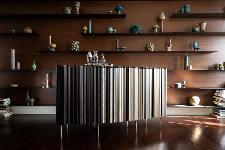Metal Contemporary Darkened Wood with Gold and Green Moldings Dresser by Luis Pons For Sale
