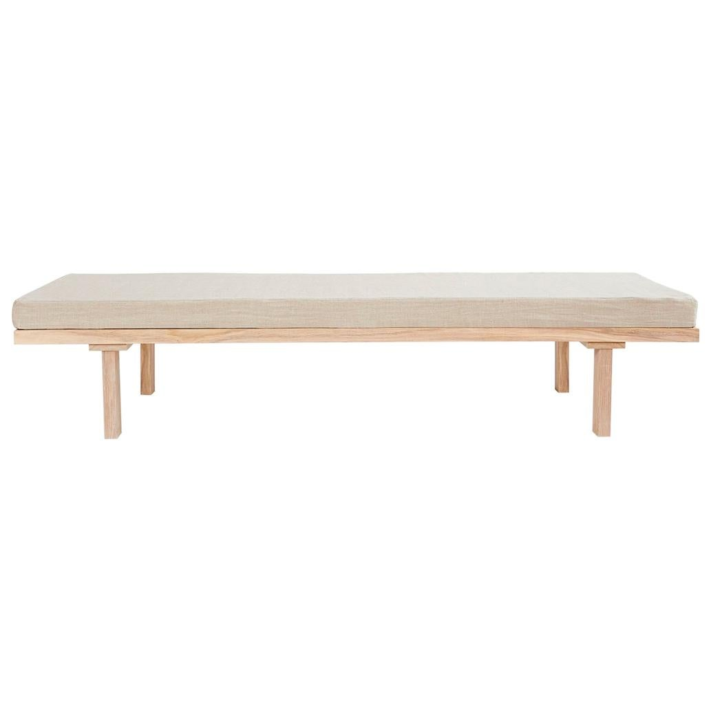 Contemporary Daybed with Linen Mattress and Oak Frame