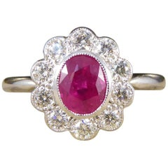 Contemporary Deco Style 0.80 Carat Ruby Diamond Cluster Ring in Platinum