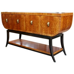 Contemporary Deco Style Curved Burl Wood and Brass Sideboard Credenza Henredon