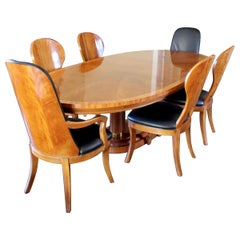 Contemporary Deco Style Double Pedestal Dining Table with Six Chairs Henredon