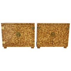 Contemporary Deco Style Hollywood Regency Henredon Pair Campaign Cabinets, 1980s