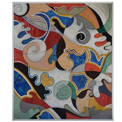 Contemporary Decorative Art Wall Panel Polychrome Abstract Relief Decoration