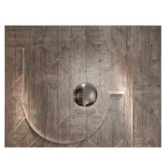Contemporary Decorative Wood Wall Panel with Mirror from Etienne Moyat