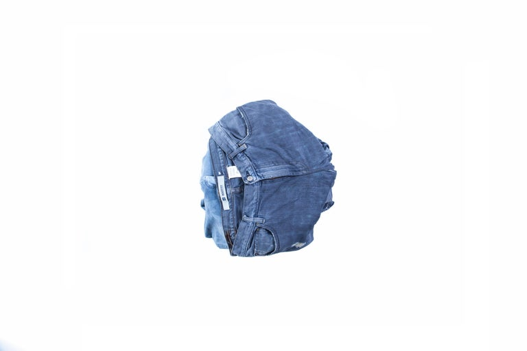 Modern Contemporary Denim Stool, Made from Hardened 'Worn' Blue Jeans For Sale